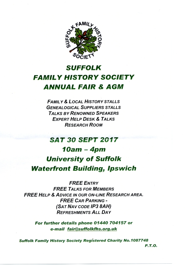 Suffolk Family HIstory Society Annual Fair 30 Sept 2017