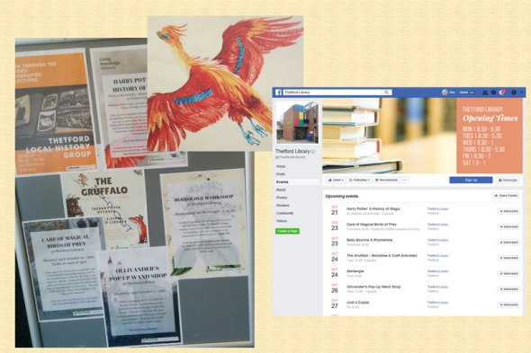Thetford Library notice board and Facebook page